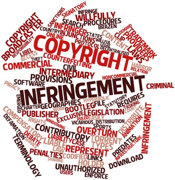 Abstract word cloud for Copyright infringement with related tags and terms
